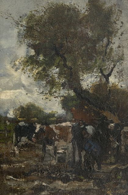Willem George Frederik Jansen | Milking time, oil on canvas laid down on panel, 41.1 x 27.3 cm, signed l.r.