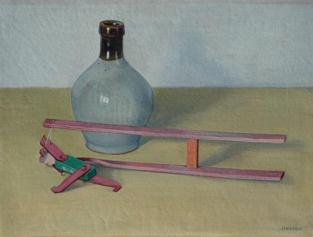 Jan Boon | A still life with a jug and a toy, oil on canvas, 30.2 x 40.5 cm, signed l.r.