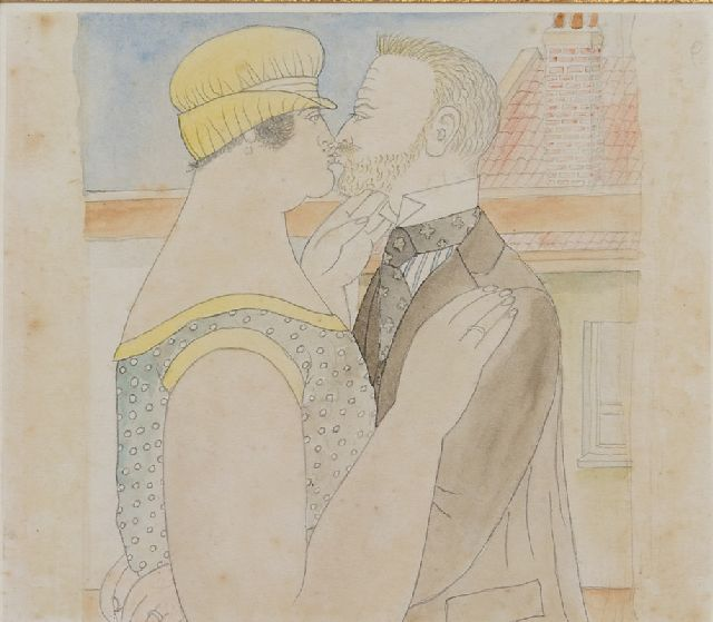 Ferdinand Erfmann | A kiss on the rooftop, pencil and watercolour on paper, 15.0 x 13.0 cm