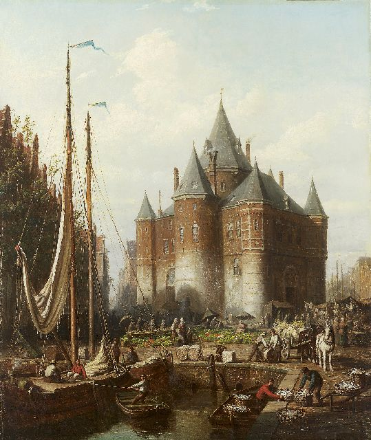 Andries Scheerboom | A busy dock scene and market at 'de Waag' Amsterdam, oil on canvas, 81.5 x 70.5 cm, signed l.l. and dated 1871