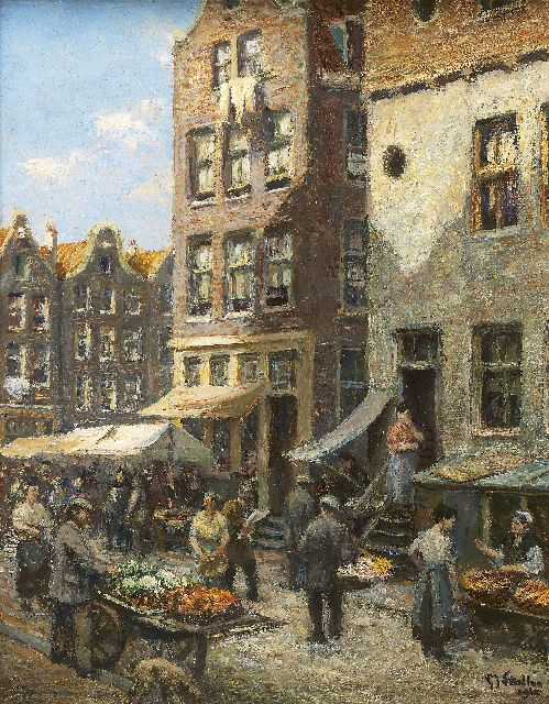Gerard Johan Staller | Busy markt scene, Amsterdam, oil on canvas laid down on panel, 23.6 x 18.4 cm, signed l.r. and dated 1912