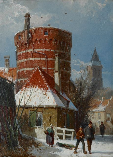 Koekkoek W.  | Dutch street with an old fortress tower, in the snow, oil on panel 24.3 x 17.9 cm, 1862-1865