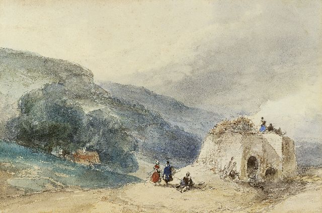 Andreas Schelfhout | Figures near a ruin in a hilly landscape, pencil and watercolour on paper, 18.6 x 27.6 cm, signed l.l. with initials, verso in full