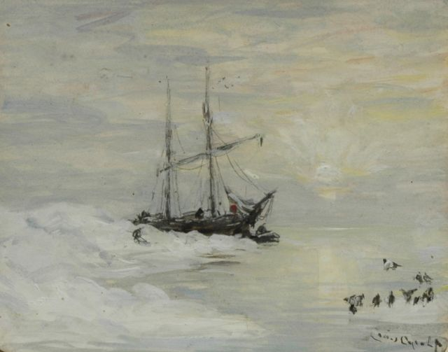 Louis Apol | The Willem Barents near Spitsbergen, at sunset, pencil and gouache on paper, 10.3 x 12.8 cm, signed l.r.