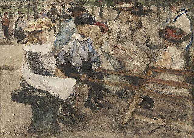 Israels I.L.  | Children in the park, watercolour on paper, 25.5 x 35.5 cm, gesigneerd l.o.  (versterkt) and ca. 1895