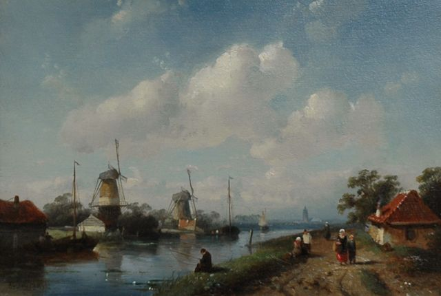 Charles Leickert | A river landscape with windmills, oil on panel, 18.0 x 26.0 cm, signed l.l.
