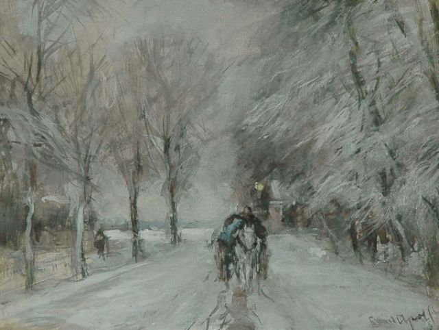 Louis Apol | A horse drawn carriage in the snow, watercolour on paper, 16.3 x 21.2 cm, signed l.r.