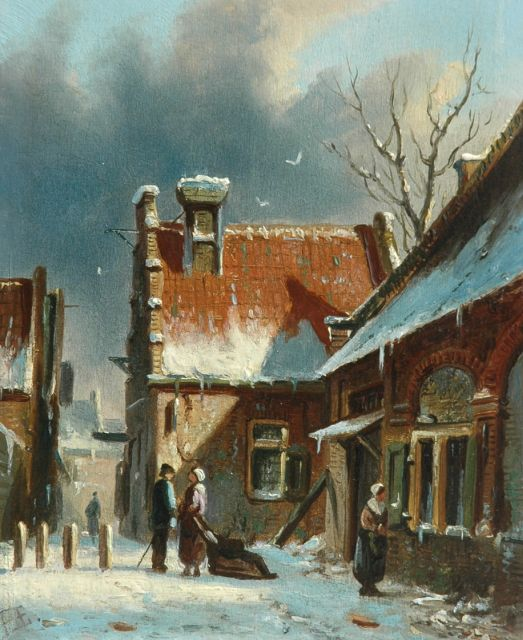 Adrianus Eversen | A city's winter view, oil on panel, 20.0 x 15.8 cm, signed l.l. with monogram