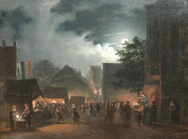 Cate H.G. ten | Market by moonlight, oil on panel, 21.2 x 28.7 cm, signed l.r. and dated 1854