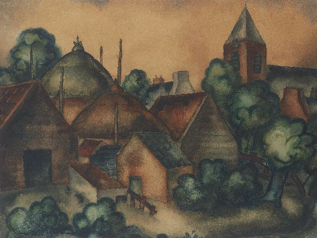 Wiegman M.J.M.  | A village view, charcoal and watercolour on paper 68.2 x 90.0 cm, signed l.l.