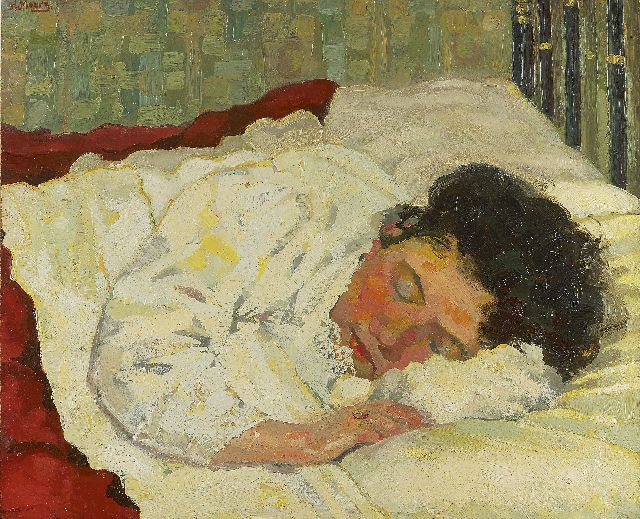 Harmen Meurs | Sleeping woman, oil on cardboard, 56.3 x 68.0 cm, signed u.l. and painted ca. 1923