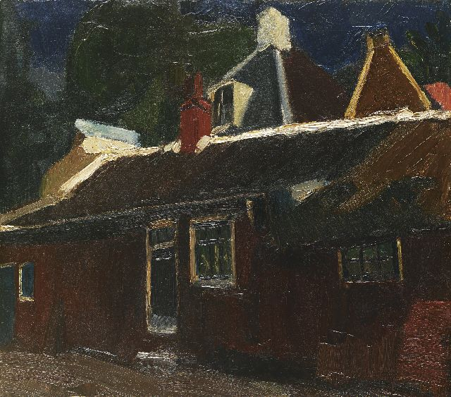 Piet van Wijngaerdt | Houses and red barn, oil on canvas, 51.5 x 58.2 cm, signed l.l. and painted circa 1915