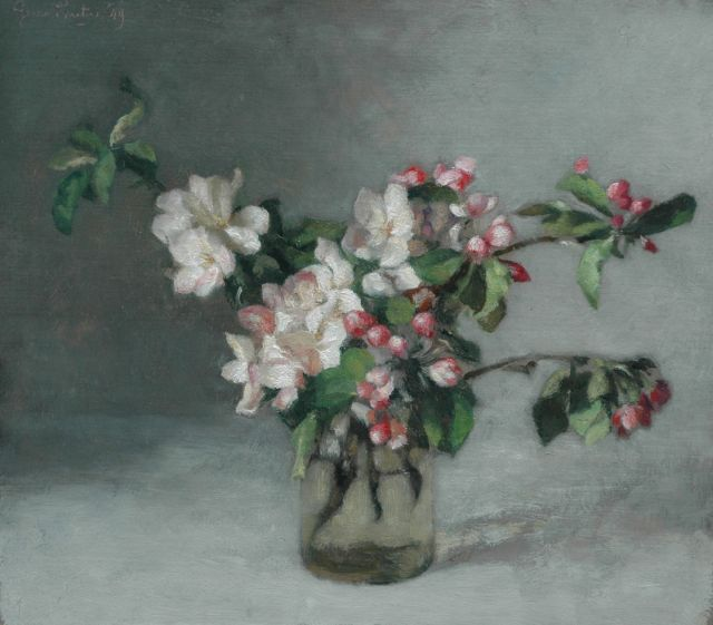 Georg Rueter | Flowers in a vase, oil on panel, 37.5 x 42.4 cm, signed u.l. and dated '49