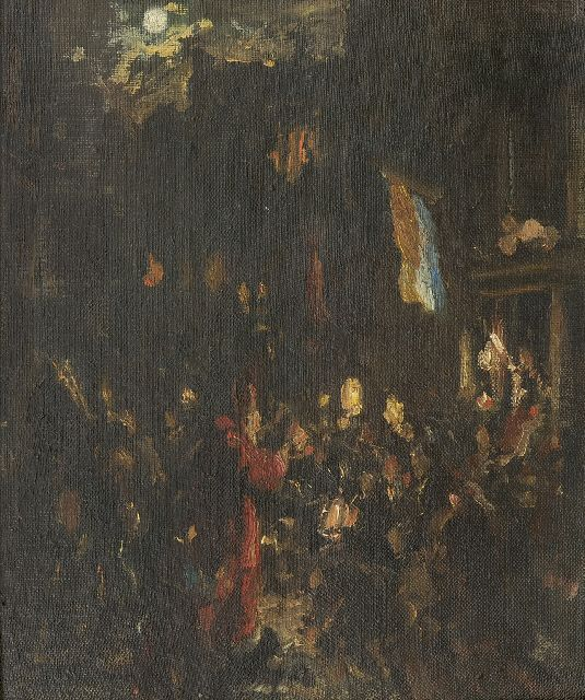 Gerard Johan Staller | Celebrating Sint Nicolaas in Amsterdam, oil on canvas laid down on board, 29.4 x 25.0 cm, signed l.l.