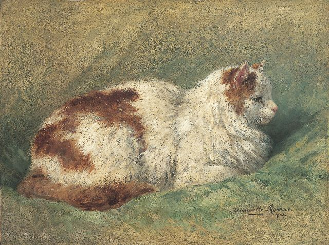 Henriette Ronner-Knip | A cat resting on a pillow, oil on panel, 34.8 x 46.0 cm, signed l.r. and dated 1904