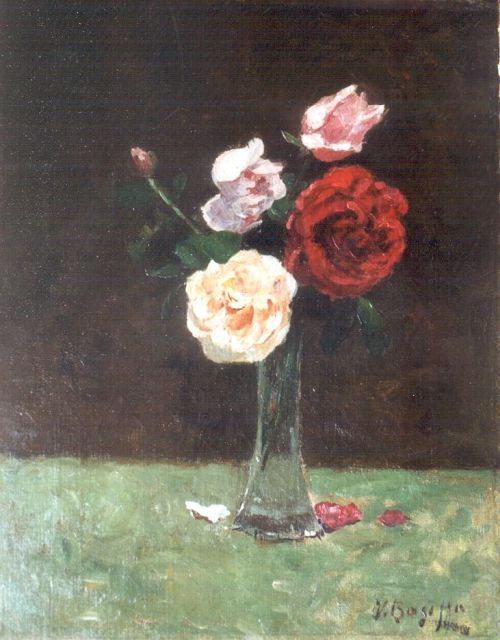Victor Bauffe | Roses in a glass vase, oil on canvas, 38.3 x 30.3 cm, signed l.r.