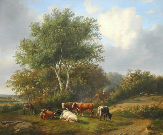 Louis Pierre Verwee | Grazing cattle, oil on canvas, 63.2 x 77.0 cm, signed l.l. and dated 1843