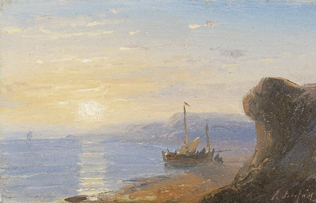 Andreas Schelfhout | The Normandy coast at sunset, oil on copper, 5.8 x 9.1 cm, signed l.r. and painted between 1845-1849