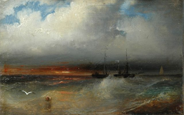 Andreas Schelfhout | Sunset at sea, oil on copper, 6.2 x 9.4 cm, signed on the reverse and painted between 1845-1849