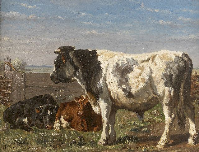 Jan de Haas | A bull and calves in a summer landscape, oil on canvas, 39.0 x 50.7 cm, signed l.l.