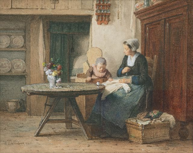 Valkenburg H.  | Mother's blessings, watercolour on paper 40.1 x 50.1 cm, signed l.l. and dated '76