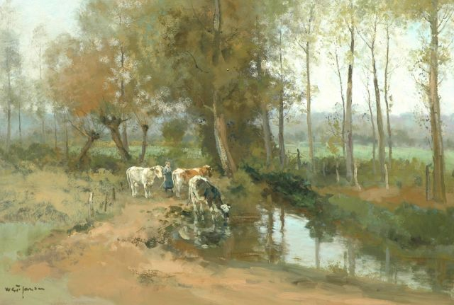 Willem George Frederik Jansen | Watering cows in a wooded landscape, oil on canvas, 82.2 x 117.8 cm, signed l.l.