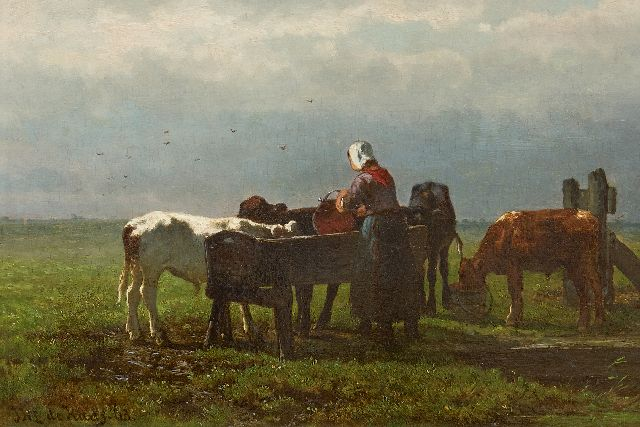 Jan de Haas | Feeding the calves, oil on panel, 22.7 x 33.0 cm, signed l.l. and dated '63