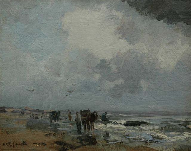 Willem George Frederik Jansen | Shell fishermen on the beach, oil on canvas laid down on panel, 26.3 x 33.2 cm, signed l.l.