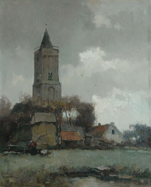 Aris Knikker | View of a village with the Oude Kerk of Soest, oil on canvas, 56.8 x 46.1 cm, signed l.l.