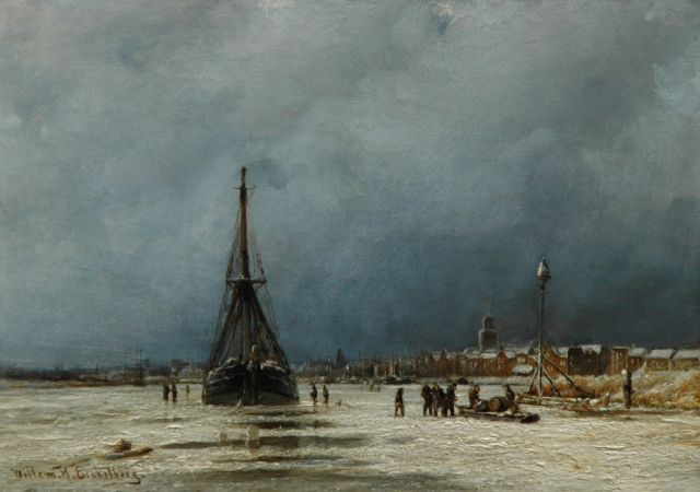 Eickelberg W.H.  | A winter's day on the Maas near Rotterdam, oil on panel 22.7 x 32.0 cm, signed l.l.