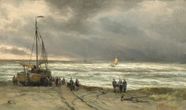 George Lourens Kiers | Fishervolk near a beached fishing boat, oil on canvas, 38.3 x 64.2 cm, signed l.r. and dated 1909