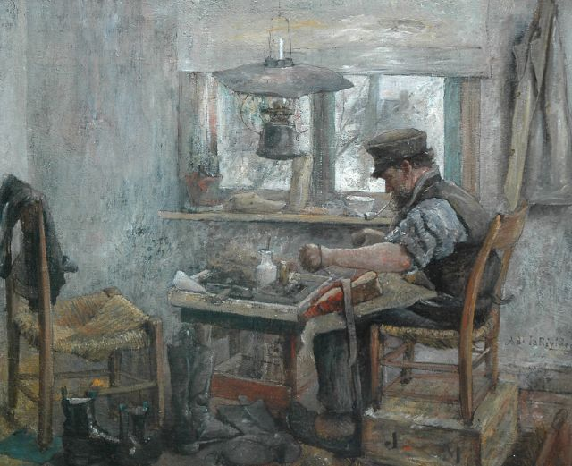 Adriaan de la Rivière | A cobbler at work, oil on canvas, 49.3 x 60.2 cm, signed m.r. and on the reverse