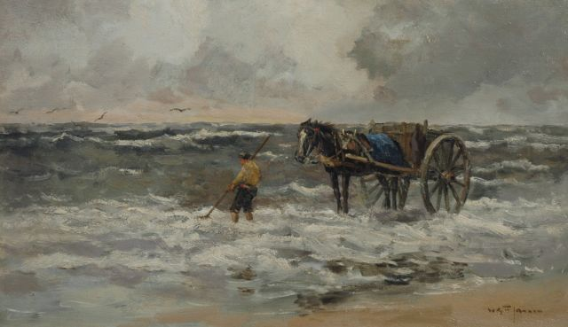 Willem George Frederik Jansen | A shell fisher in the breakers, oil on canvas, 58.8 x 100.1 cm, signed l.r.