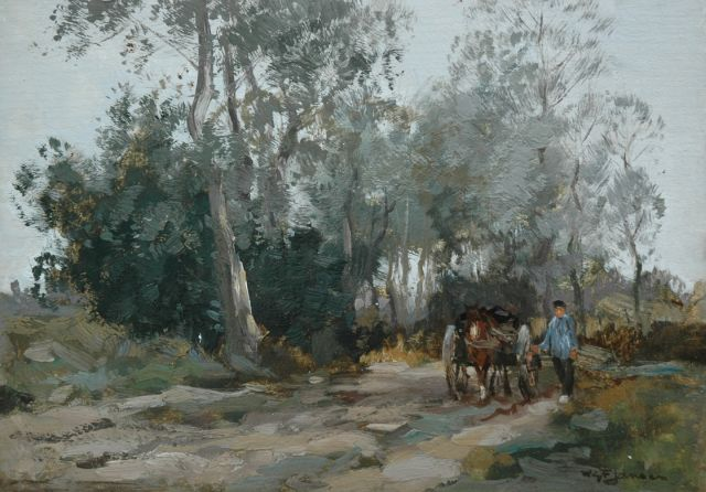 Willem George Frederik Jansen | A horsedrawn cart on a country lane, oil on panel, 25.0 x 35.6 cm, signed l.r.
