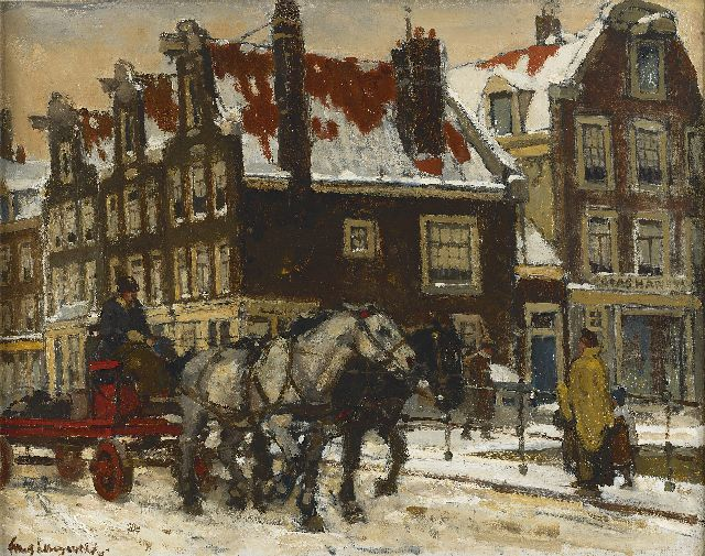 Frans Langeveld | A horse drawn cart on a bridge in wintry Amsterdam, oil on canvas, 37.8 x 47.5 cm, signed l.l.