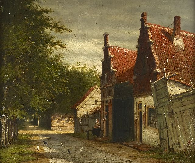Johannes Jacobus Mittertreiner | A village street in summer, oil on painter's board, 35.2 x 43.0 cm, signed l.r.