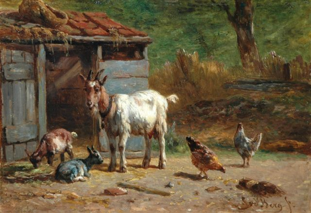 Simon van den Berg | Goats and chicken in a farmyard, oil on panel, 17.3 x 25.0 cm, signed l.r