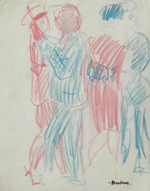George Martens | Dancing couples, coloured chalk on paper, 20.2 x 16.0 cm, signed with signature stamp l.r.