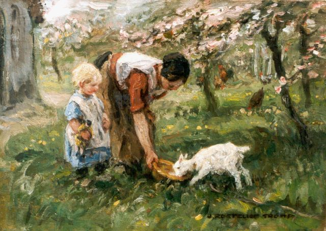 Jan Zoetelief Tromp | Feeding the goat, oil on canvas, 25.5 x 36.0 cm, signed l.r.