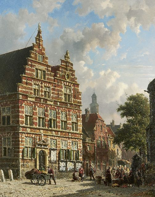Adrianus Eversen | Vegetable dealers in front of the old townhall of Naarden, oil on panel, 66.8 x 53.0 cm, signed l.l. and on label on the reverse, monogram l.r.
