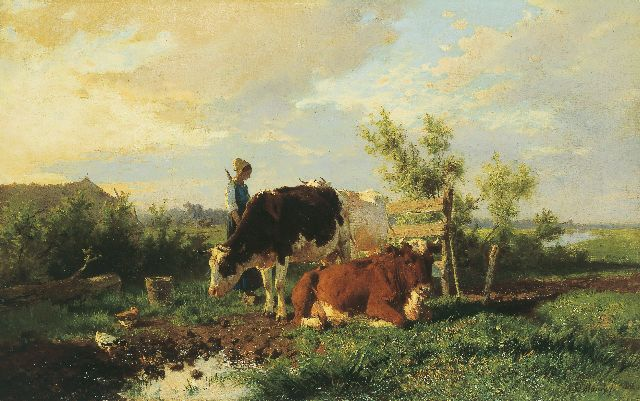 Anton Mauve | Milking-time, oil on canvas, 51.4 x 82.0 cm, signed l.r. and painted circa 1862-1864