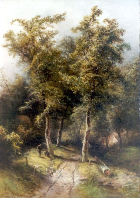 Pieter Kluyver | Figures near a wooded path, oil on panel, 34.8 x 24.8 cm, signed l.l.