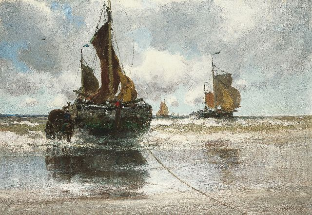Charles Paul Gruppe | Unloading the catch, oil on canvas, 83.5 x 121.5 cm, signed l.r.
