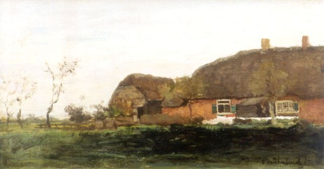 Jan Hendrik Weissenbruch | A farm in a polder landscape, oil on canvas, 19.0 x 34.1 cm, signed l.r.