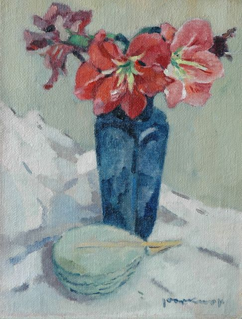 Kropff J.  | Amaryllis in a blue vase, oil on canvas 45.6 x 35.2 cm, signed l.r.