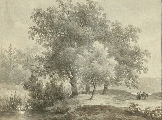 Andreas Schelfhout | Travellers in a wooded landscape, brush in brown ink on paper, 12.6 x 16.3 cm, signed on the reverse