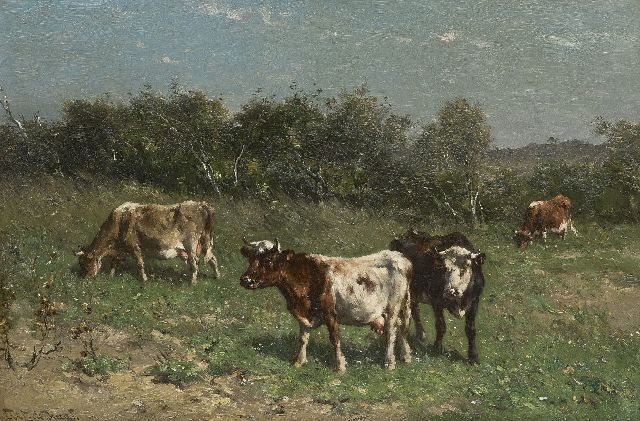 Haas J.H.L. de | Cows in a dune landscape, oil on paper laid down on panel 31.4 x 47.2 cm, signed l.l.