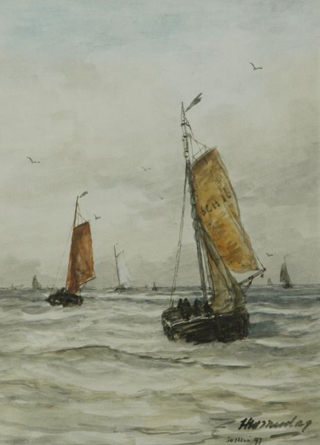 Hendrik Willem Mesdag | Fishing boats at sea, watercolour on paper, 35.8 x 25.3 cm, signed l.r. and 30 mei 97