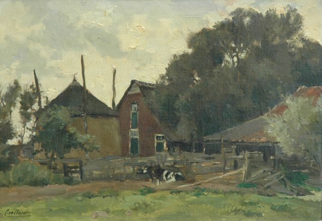 Chris van der Windt | A farm with two cows, oil on panel, 30.0 x 43.3 cm, signed l.l.