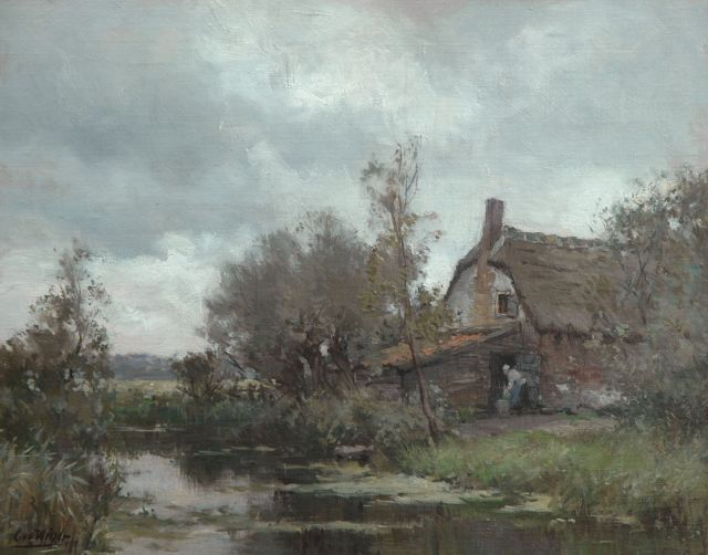 Chris van der Windt | Farm along a polder canal, oil on canvas, 41.0 x 50.0 cm, signed l.l.